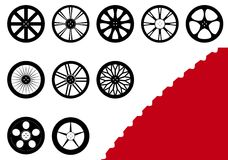 10 Rims Set. A set of 10 different rims with a detailed tire outline to look more realistic Royalty Free Illustration