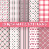10 Romantic Vector Seamless Patterns Stock Image