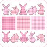 10 rosafarbene Kaninchen. Schöne Elemente für Einklebebuch Lizenzfreies Stockbild