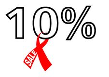 10% sale with ribbon Royalty Free Stock Photo