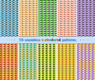 10 Seamless Abstract Geometric Varicolored Patterns Stock Images