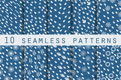 10 Seamless Patterns With Drops. The Pattern For Wallpaper, Tiles, Fabrics And Designs. Stock Image