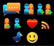 10 shiny web icon for social media. Illustration of 10 shiny web icon for social media Royalty Free Stock Photos
