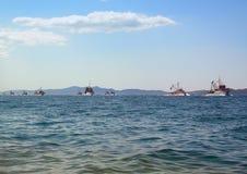 10 ships on the horizon. Adriatic sea. Fishing fleet stock images