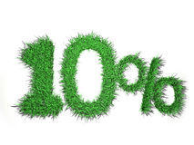 10% sign. Made of green grass Stock Photo