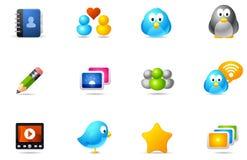 10 sociala symbolsmedelphilos som ställs in Arkivfoton