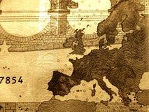 10 täta detaljerade euros för bill upp Arkivbild