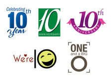 10 th year anniversary. Icons and logos for 10th year anniversary celebration stock illustration