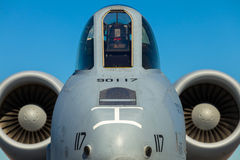A-10 Thunderbolt jet. Close up view of the American military A-10 Thunderbolt Warthog jet stock photos