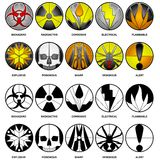 10 vector hazard icons. 10 vector icons for hazards in beveled glass and black and white styles Royalty Free Stock Image