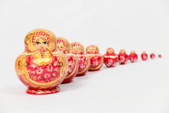 10 verschachtelten Puppen Stockfoto