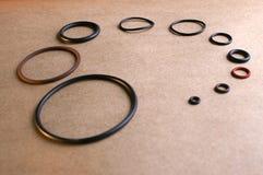 10 verschiedene Größen der O-Ringe Stockfotografie