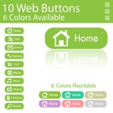 10 Web Buttons Layout. 6 Diferent Colors Royalty Free Stock Images
