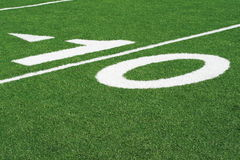 10 yard line. In a football stadium Stock Image