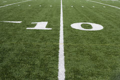 10 Yard Line On American Football Field Stock Photo