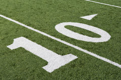 10 Yard Line On American Football Field. In stadium royalty free stock image