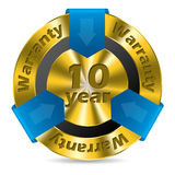 10 year warranty badge design. In gold and blue color Stock Photography