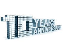 10 years anniversary. Word 3d illustration isolated Stock Image