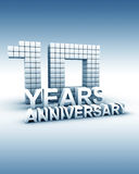 10 years anniversary. Word 3d illustration Stock Photos