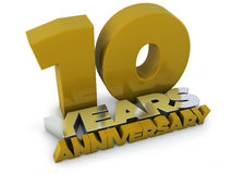 10 years anniversary. Old gold silver render Stock Photos