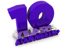 10 years anniversary. Old gold silver render Royalty Free Stock Image