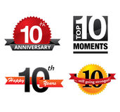 10 years anniversary. 10th year anniversary badge icons stock illustration