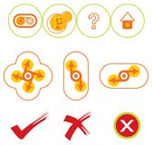 10 yellow and red web buttons. For all usage Stock Image