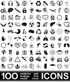 100个图标向量 免版税库存照片