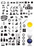 100个图标+您的万维网的4个按钮 免版税图库摄影