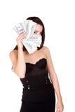 100个有吸引力的票据美元批次采取妇&#22899 免版税库存照片