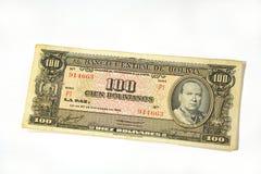 100个玻利维亚旧货币单位bolvian 免版税库存图片