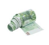 100个票据欧洲货币纸张洗手间 免版税库存图片