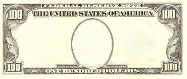 100个票据空白美元纵向端 库存图片