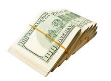 100个背景美元查出我们空白 免版税库存图片