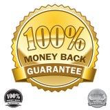 100回到保证图标货币 免版税库存照片