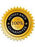 100回到保证货币 库存图片