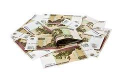 100块货币堆卢布 库存图片