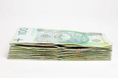 100张钞票查出的pln波兰栈 免版税图库摄影