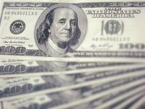 $100张钞票背景。 免版税图库摄影