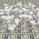 100枚硬币美元我们 皇族释放例证