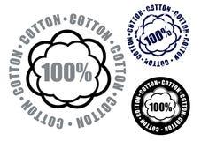 100棉花图标标记密封 库存图片