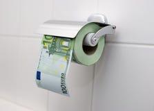 100欧元纸洗手间 库存图片
