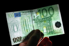100欧元水印 库存照片