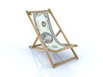 100海滩睡椅美元木 免版税库存照片