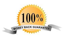 100返回货币密封 免版税库存图片