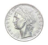 100里拉意大利的硬币1975年 库存图片