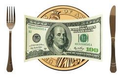 100 δολλάρια ΗΠΑ στο χρυσό πιάτο δολαρίων, επιτραπέζιο σύνολο.   Στοκ Φωτογραφία