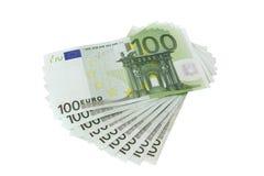 100 ευρο- τραπεζογραμμάτια, που απομονώνονται Στοκ Εικόνες