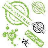 100 φυσικό σύνολο γραμματοσήμων grunge Στοκ εικόνα με δικαίωμα ελεύθερης χρήσης