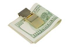 100 долларов кредиток в зажиме денег Стоковое фото RF